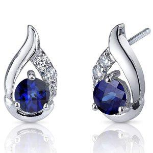 Radiant Teardrop 1.50 Carat Sapphire Earrings