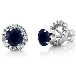 Blue Sapphire Earrings 925 Sterling Silver Gemstone Stud Halo Set
