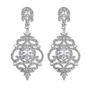 1. LILIE&WHITE Halo Cubic Zircon Bridal Chandelier Earrings