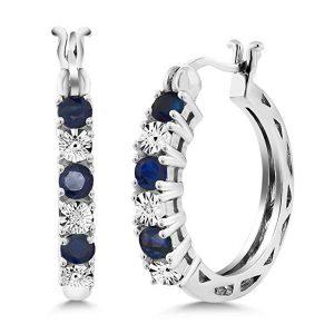 Blue Sapphire & White Diamond Accent Hoops