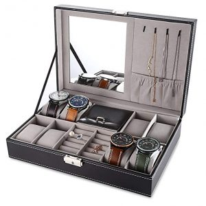 EleLight Black Jewelry Box 8 Slots Watch Organizer