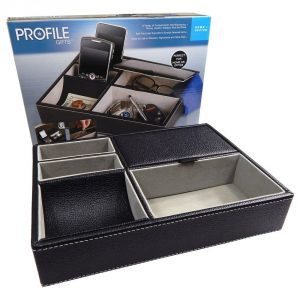 Profile Gifts 10 Inch Black Leatherette Tray - Men's Jewelry Box