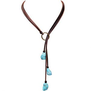 Bohemian Synthetic Turquoise Lariat Necklace
