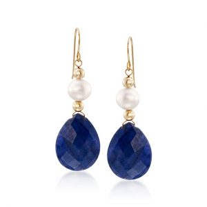 Ross-Simons 20.00 ct. t.w. Sapphire and Cultured Pearl Earrings