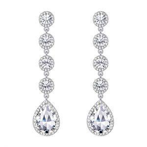 3. BriLove Wedding Crystal Beaded Earrings
