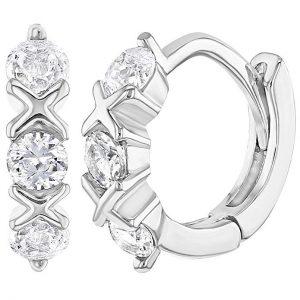 """925 Sterling Silver Clear CZ XO Small Huggie Hoop Earrings Infants Girls 0.39"""""""