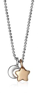 """Alex Woo """"Mini Additions"""" Sterling Moon and 14k Gold Star Pendant Necklace"""