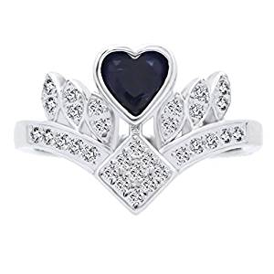 BL Jewelry Sterling Silver Heart Shape Created Blue Sapphire Princess Crown Tiara Ring