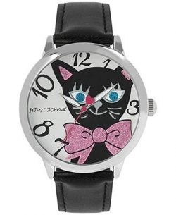 Betsey Johnson Black Cat Faux Leather Strap Watch 44mm