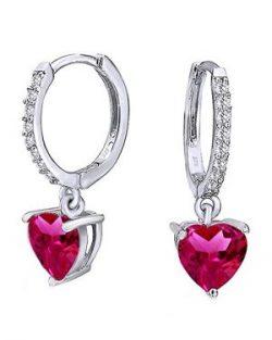 Christmas Sale Simulated Garnet Heart Huggie Hoop Earrings 14K White Gold Over Sterling Silver