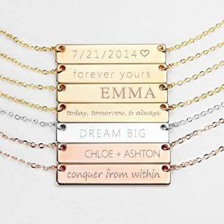 Customizable Gold Bar Necklace