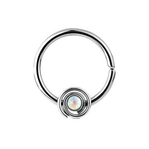 Dynamique 16g 316L Surgical Steel Bendable Septum/Cartilage Hoop Ring with Opal Set Spiral
