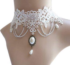 Eternity J. Vintage Lace Gothic Style Tassel Pendant Choker Victorian Palace Princess Lolita Necklace Bracelet