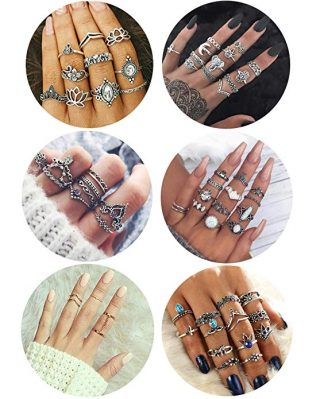 FIBO STEEL 63 Pcs Vintage Knuckle Rings for Women Girls Stackable Midi Finger Ring Set