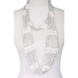 Fishnet Beaded Scarf , summer Belt , infinity scarf, necklace, plain, solid color
