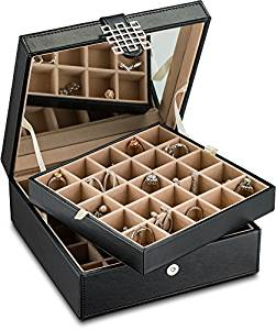 Glenor Co Classic 50 Slot Jewelry Box Earrings Organizer with Large Mirror