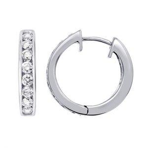 IGI Certified 14k Gold Hoop Huggies Diamond Earrings (1/2 carat)