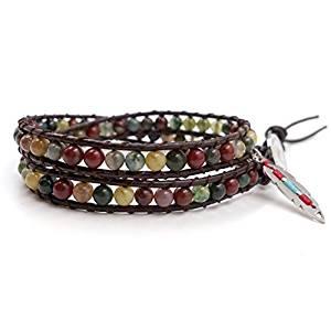 India Agate Leather Wrap Choker