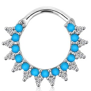 Jewseen 1pc 16g Septum Clicker Hoop Turquoise Beads Sparkling Septum Ring Nose Rings Piercing Jewelry