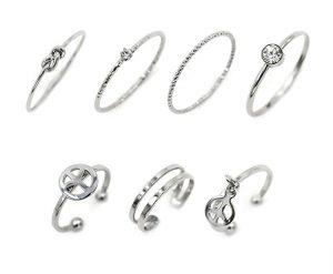 LANE WOODS Multiple Rings Set Stackable Midi Kunckle Anti-tarnished Real Gold Plated Minimalist Simple Thin Cute Dainty Rings Pack for Women Ladies Girls