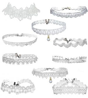 LINKY 10pcs White Lace Choker Necklace Women Girls Jewelry Set