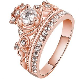 LWLH Jewelry Womens 18K Rose Gold Plated Fashion Cubic Zirconia CZ Princess Crown Tiara Ring Wedding Band