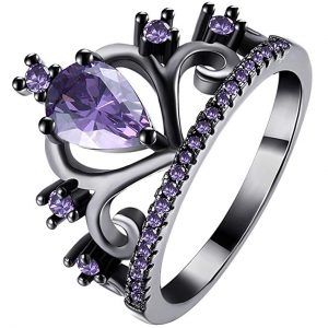 LWLH Womens Black Gold Plated Purple Amethyst Cubic Zirconia CZ Princess Crown Tiara Ring Wedding Band
