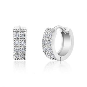 MIA SARINE 13mm Pave Cubic Zirconia Small Huggie Earrings for Women in 925 Sterling Silver