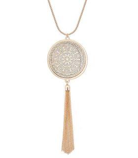 MOLOCH Long Necklaces for Woman Disk Circle Pendant Necklaces Tassel Fringe Necklace Set Statement Pendant