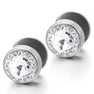 Men Women Circle Stud Earrings Steel with Cubic Zirconia, Cheater Fake Ear Plug Gauges, 2pcs