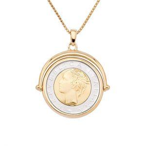 """MiaBella 18K Gold Over Sterling Silver Italian Genuine 500 Lira Coin Flip Pendant Necklace Women 18"""", 20"""" Chain"""