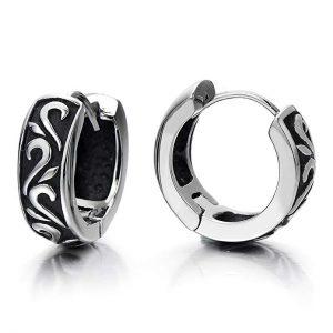 Pair Stainless Steel Vintage Tribal Huggie Hinged Hoop Earrings Unisex Men Women