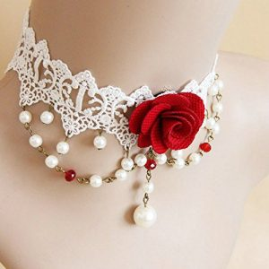 Pure Gothic Ribbon Bridal Lace Pattern Necklace Vintage Romantic Handmade Bridal Wedding White Lace Choker Necklace Short Flower Pearl Relighous Necklace