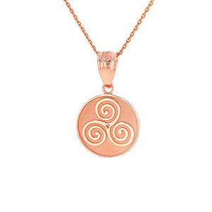 Solid 14k Rose Gold Celtic Triple Spiral Triskele Round Pendant Necklace
