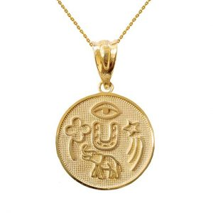 Solid 14k Yellow Gold Lucky Charms Amulet Good Luck Medallion Pendant Necklace