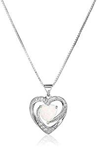 Sterling Silver Created Opal and White Sapphire Open Heart Pendant Necklace