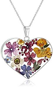 Sterling Silver Multicolored Pressed-Flower Heart Pendant Necklace