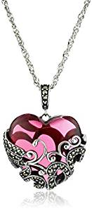 Sterling Silver Oxidized Genuine Marcasite and Red Glass Heart Filigree Pendant Necklace