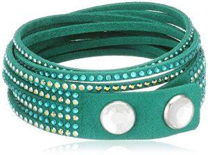 Swarovski Slake 5064290 Emerald Green Alcantara Bracelet w/ Mixed Cyrstals