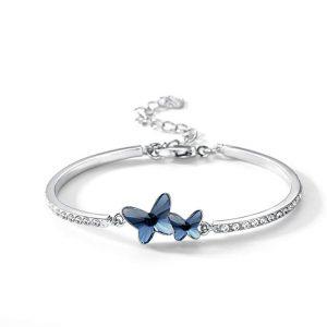 T400 Blue Purple Pink Swarovski Crystal Butterfly Bangle Bracelet for Women Girls