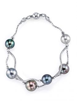 THE PEARL SOURCE 8-9mm Genuine Multicolor Tahitian South Sea Cultured Pearl Bracelet for Women