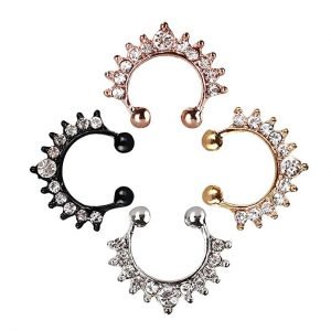 TOFOCO COM Fake Nose Ring Septum Piercing, Cubic Crystal Faux Nose Rings for Women Girl Nose Hoop Ring Clip On Body Non-Piercing Jewelry - Gift Choice
