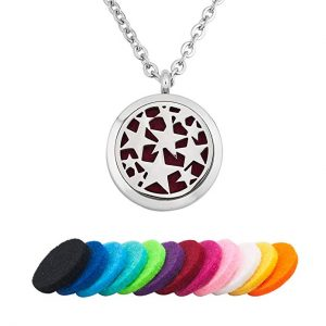 Third Time Charm Star Essential Oil Necklace Diffuser Aromatherapy Locket Pendant, 12 Refill Pads