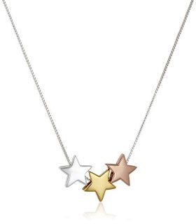 Tri Colored Sterling Silver with Yellow and Rose Gold Flashed Three Star Pendant Necklace