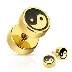 U2U Jewelry 316L Surgical Steel Pair of IP Ying Yang with Black Inlay Fake Plug Earring
