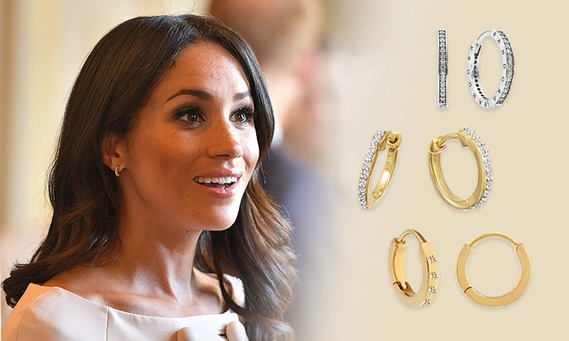Meghan Markle wearing huggie earrings