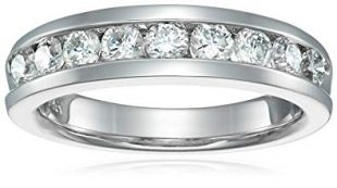 1 CT Comfort Fit Diamond Wedding Band in 14K White Gold In Size 6