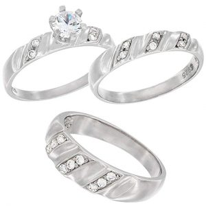 4. Sterling Silver Solitaire and Pave Cubic Zirconia Wedding Band Trio