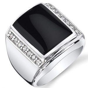 8. PEORA Black Onyx White Gold Rings for Men