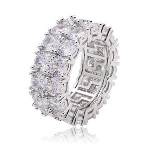 6. LuReen 2 Rows Iced Out Hip Hop White Gold Rings for Men